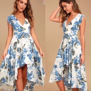 Lulus French Countryside White Floral Print Dress
